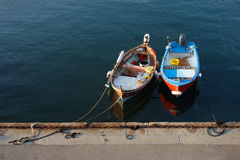 Colorful fisherman boats in marina Royalty Free Stock Images