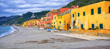 Colorful fisherman's houses on italian Riviera in Varigotti, Lig Stock Photos