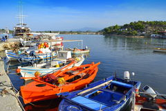Colorful fishermen boats Greece Royalty Free Stock Photo