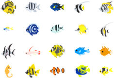 Colorful fishes. 20 Icons of colorful fish stock illustration