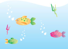 Colorful fishes. A  illustration of three colorful fishes in the blue sea Royalty Free Stock Photo