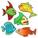 Colorful fishes set Stock Photos