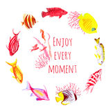 Colorful fishes watercolor vector design round frame. All elements are isolated and editable Stock Images