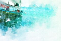 Free Colorful Fishing Boat On Water Sea In Thailand On Watercolor Illustration Painting Background. Stock Photography - 172496762