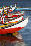 Colorful fishing boats. Typical Portuguese fishing boats in Aveito Royalty Free Stock Images