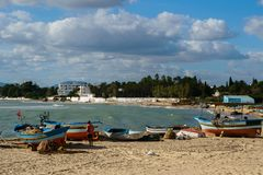 Fisherman`s boat at beach in Hammamet Tunisia royalty free stock photography