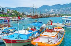 The colorful fishing boats in Alanya Stock Image