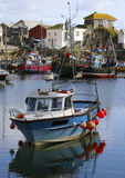 Colorful fishing boats at anchor in  Mevagissey Royalty Free Stock Photography