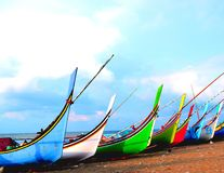Colorful Fishing Boats. At the beach Royalty Free Stock Photos