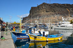 Colorful fishing boats at Gran Canaria, Spain stock images