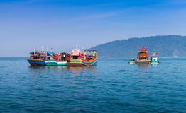 Colorful fishing boats. Kota Kinabalu royalty free stock photos