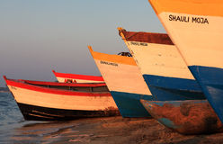 Colorful fishing boats, Lake Malawi Stock Images