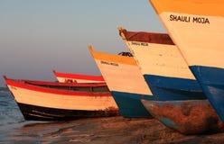 Colorful fishing boats, Lake Malawi. Colorful fishing boats at the beach of Senga Bay, Lake Malawi, Malawi Stock Images