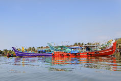 Colorful fishing boats moored Kochin Backwaters Royalty Free Stock Photos