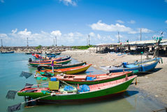 Colorful fishing boats. Beside the part of Thailand eastern sea Royalty Free Stock Photos