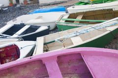 Colorful fishing boats. On the shore Royalty Free Stock Photography