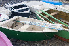 Colorful fishing boats. On the shore Royalty Free Stock Image