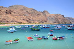 Colorful fishing boats on Teresitas beach on Tenerife Stock Photos