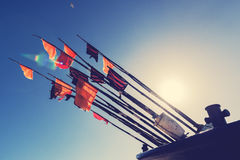 Colorful fishing flags to mark the fisheries in cutter. Royalty Free Stock Images