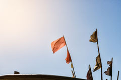 Colorful fishing flags to mark the fisheries in cutter. Royalty Free Stock Image