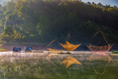 Colorful fishing net in a lake Royalty Free Stock Photography