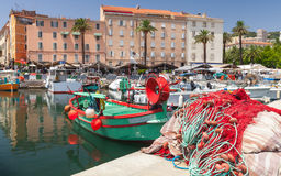 Colorful fishing net laying in port of Ajaccio Royalty Free Stock Photography