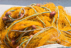 Colorful fishing nets closeup Stock Images