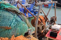 Colorful fishing nets at the fishing Harbor in Whitstable, UK Stock Image