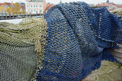 Colorful fishing nets - ocean backround Royalty Free Stock Image