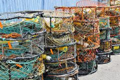 Colorful Fishing Nets and Ropes Stock Images