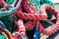 Colorful fishing ropes close up. Stock Images
