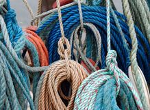 Colorful fishing ropes. Closeup of colorful fishing ropes Stock Photo