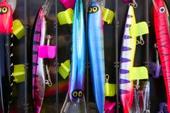 Colorful fishing saltwater fish lures box Royalty Free Stock Image