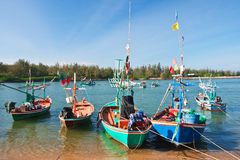 Colorful fishing thai boats Stock Photos