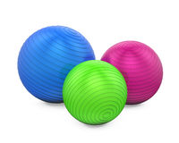 Colorful Fitness Balls Isolated. On white background. 3D render Royalty Free Stock Image