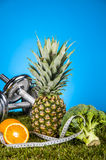 Colorful fitness composition, fitness stuff Royalty Free Stock Images