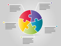 Colorful Five Sided Circle Puzzle Presentation Infographic Template Royalty Free Stock Images