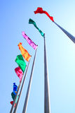 Colorful flag. Was flying in Sky royalty free stock photos