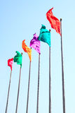 Colorful flag. Was flying in Sky Royalty Free Stock Photo