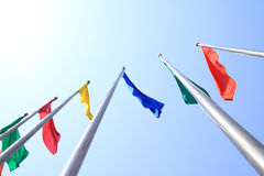 Colorful flag. Was flying in Sky royalty free stock photography