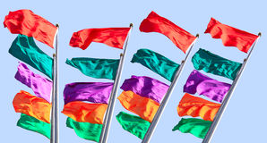 Colorful flag. Was flying in Sky royalty free stock image