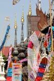 Colorful flag call tung hang on sand pagoda. Chiangmai colorful flag call tung hang on sand pagoda Royalty Free Stock Photography