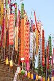 Colorful flag call tung hang on sand pagoda. Northern thailand chiangmai colorful flag call tung hang on sand pagoda Stock Images