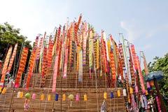 Colorful flag call tung hang on sand pagoda. Northern thailand chiangmai colorful flag call tung hang on sand pagoda Stock Photos