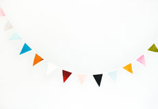 Colorful flag garland. Isolated on white. Holidays, birthday concept Royalty Free Stock Image