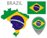 Brazil flag, map and map pointer vector illustration