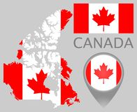 Canada flag, map and map pointer royalty free illustration