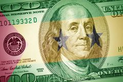 Flag of sao tome and principe on a american dollar money background stock photo