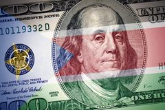 Flag of south sudan on a american dollar money background royalty free stock photos