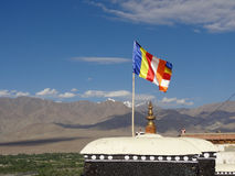 Colorful flag at Thiksey monastery in Leh, ladakh,  India Royalty Free Stock Photos